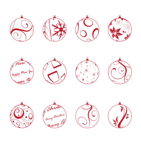 christmas balls set, vector illustration Çizim