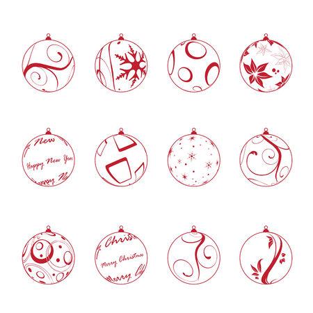christmas balls set, vector illustration Illustration