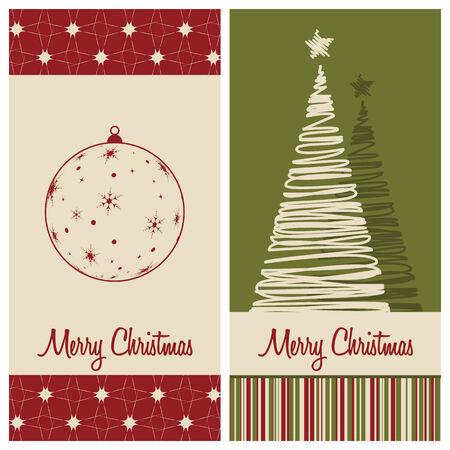 christmas card set, vector illustration Vector