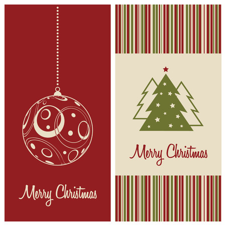 christmas card set, vector illustration Vector