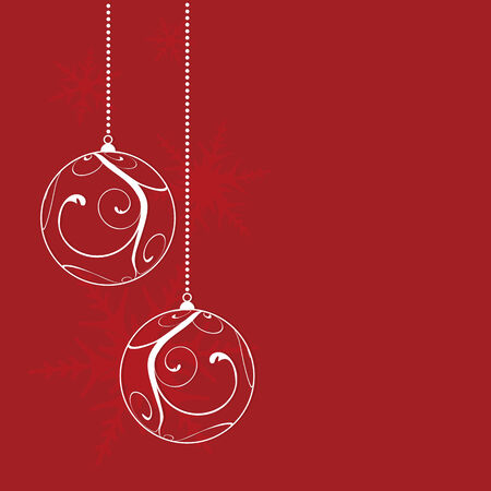 red christmas background, vector illustration Çizim