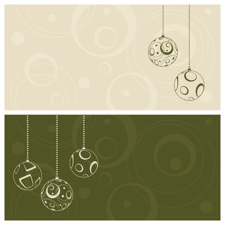 christmas baubles of modern design: green christmas card background, illustration