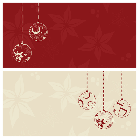 christmas baubles of modern design: red christmas card background, illustration