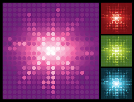 abstract lights background with halftone sunburst, vector illustration Vector