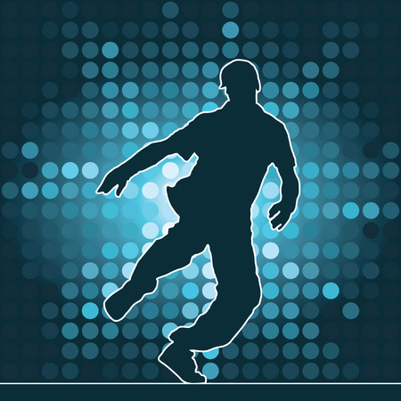 hiphop: dancing silhouette, breakdance, vector illustration