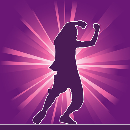 dancing silhouette, hip-hop, vector illustration Vector
