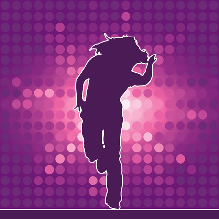 dancing silhouette, hip-hop, vector illustration