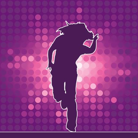 dancing silhouette, hip-hop, vector illustration