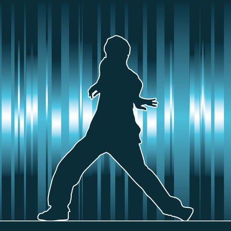 dancing silhouette, hip-hop, vector illustration Vector