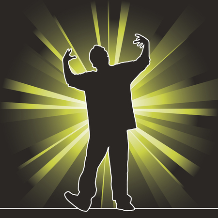 rap music: dancing silhouette, hip-hop, vector illustration