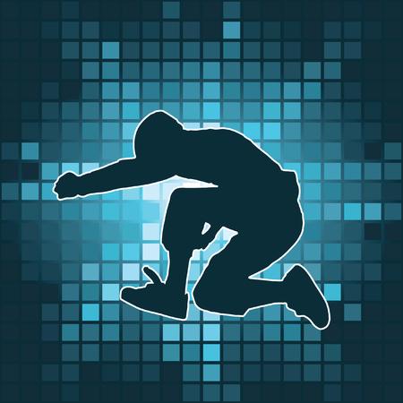 street dance: dancing silhouette, jump, vector illustration Illustration