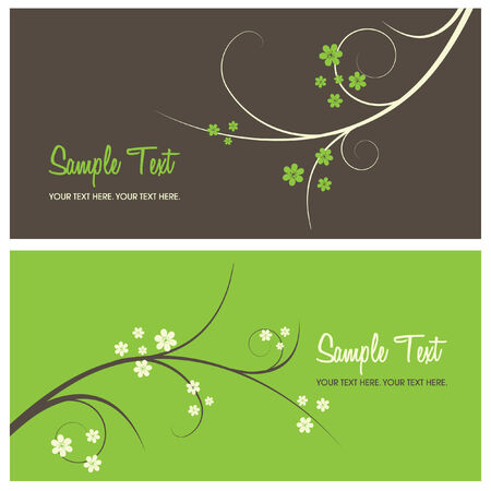floral card background with copy space, vector illustration
