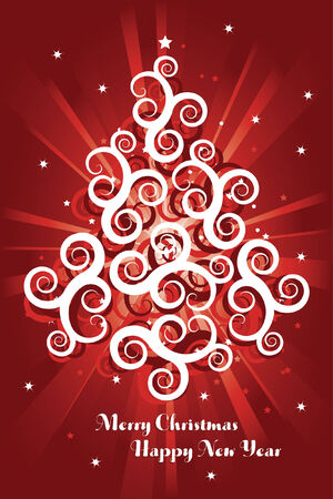 happy new year banner: red christmas card background