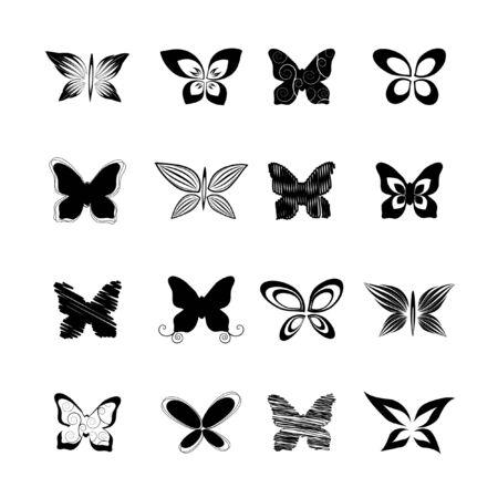 butterfly set, vector illustration Vector