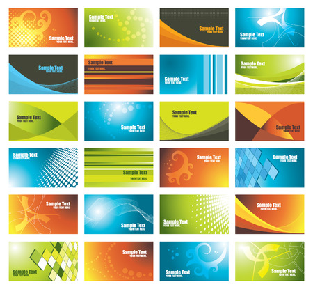 red swirl: set of colorful business cards, vector illustration
