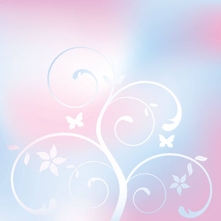 floral background with butterflies, vector illustration Illustration