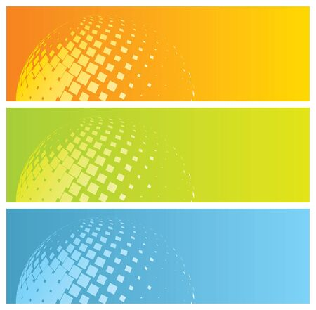 abstract colorful banners with mosaic globe,  illustration Çizim