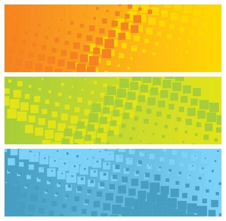 abstract colorful banners with mosaic tiles, illustration Vector