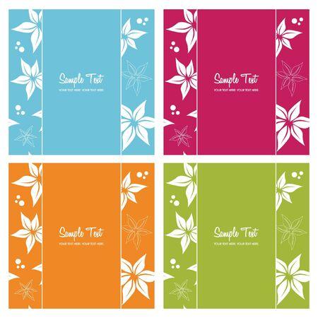 set of floral card backgrounds, illustration Vector