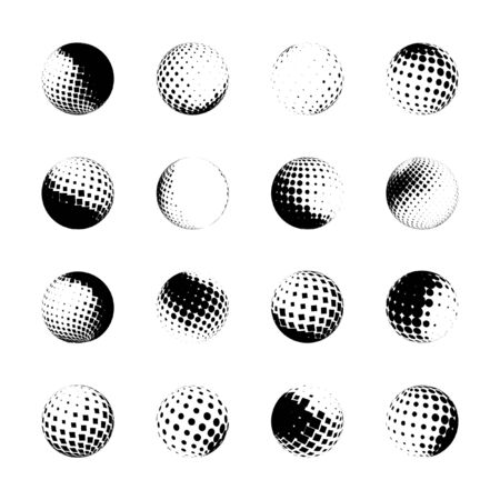 grungy dots: set of halftone spheres, design elements Illustration