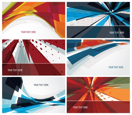 set of modern, colorful business cards