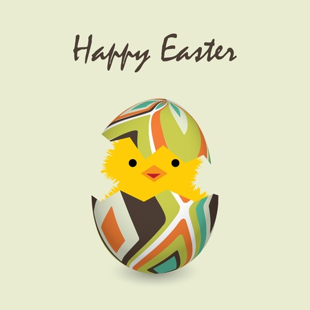 easter card with a hatching chick, vector illustration Vector