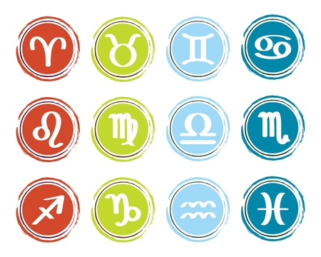 horoscope zodiac signs, set of icons Çizim