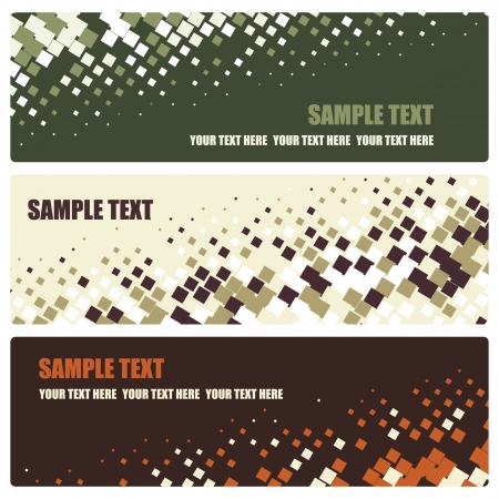 grungy header: set of abstract mosaic banners, vector illustration Illustration