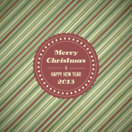 vintage christmas card background with red and green stripes,  illustration Vector