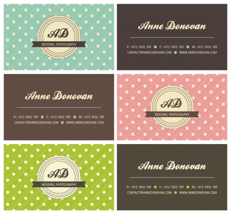 set of retro business cards with polka dots, vector illustration Çizim