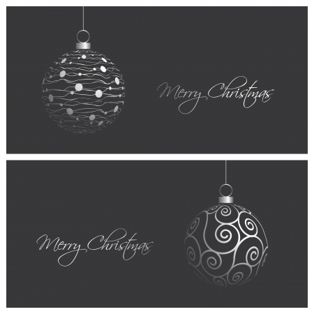 christmas baubles of modern design: set of modern and elegant christmas card backgrounds, vector illustration