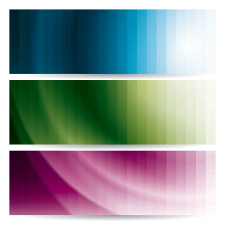 set of abstract wavy banners (headers) with stripes, vector illustration Vector