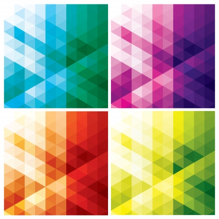 set of abstract geometric backgrounds with triangles and hexagons, vector illustration