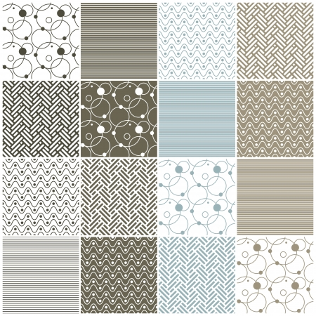 set of 16 seamless patterns with stripes, waves, dots, circles and chevron illustration Vector