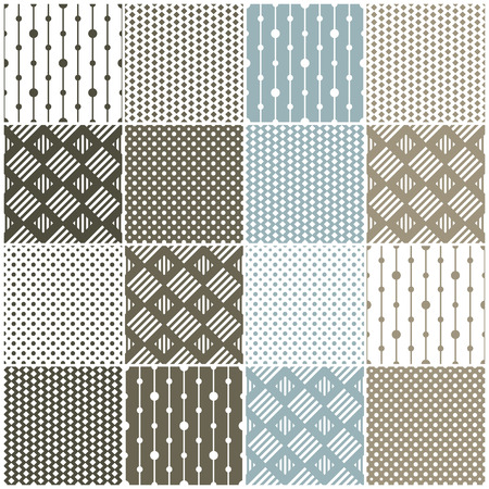 set of 16 seamless patterns with dots, squares and lines illustration Stock Vector - 25313131