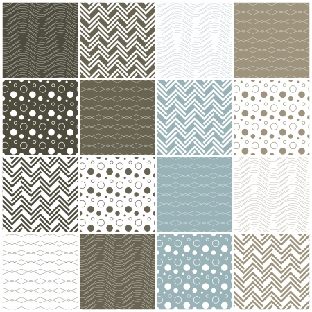 dotted lines: set of 16 seamless patterns with waves, circles, dots and lines illustration