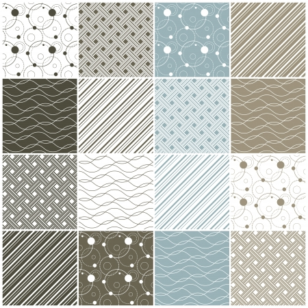 set of 16 seamless patterns with dots, waves and stripes illustration Vector