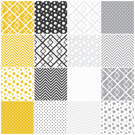 set of 16 seamless patterns with squares, polka dots and chevron illustration illustration