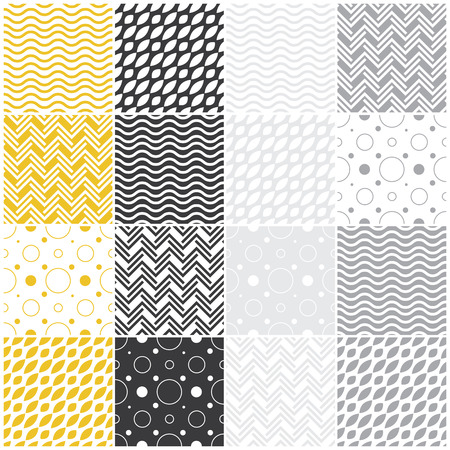 set of 16 seamless patterns with waves, polka dots and chevron illustration illustration