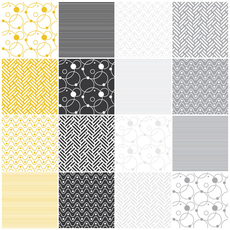 set of 16 seamless patterns with stripes, waves, dots, circles and chevron illustration illustration