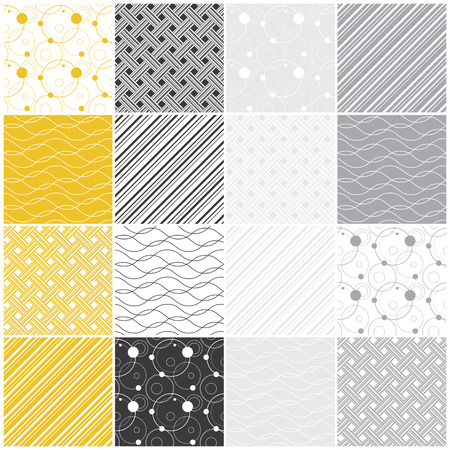 set of 16 seamless patterns with dots, waves and stripes, vector illustration illustration