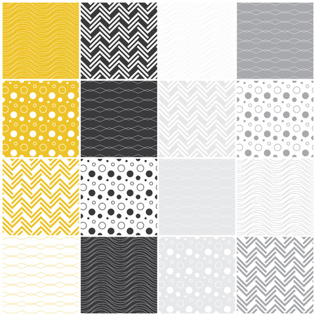 set of 16 seamless patterns with waves, circles, dots and lines, vector illustration illustration