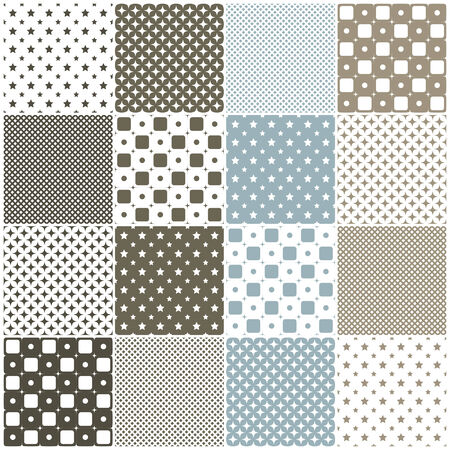 grid paper: brown and blue geometric seamless patterns with stars, dots and squares illustration