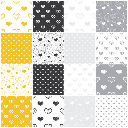 yellow and gray seamless patterns with hearts Vector