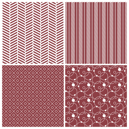 web2: red geometric seamless patterns: chevron, stripes, dots, circles, squares, grid, vector illustration