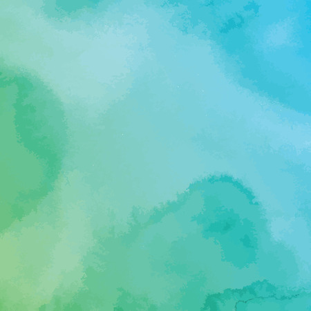 hand painted: green and blue watercolor texture background, hand painted vector illustration