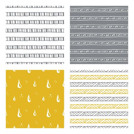 mustard: hand drawn seamless patterns: tribal, geometric and abstract doodles, vector illustration