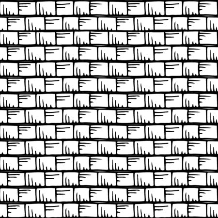 ink drawing: seamless  pattern with stripes and squares, illustration Illustration