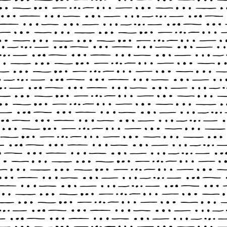 sketched shapes: seamless pattern with lines and dots, striped illustration Illustration