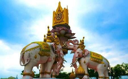 Elephant statue belong to the King Rama the 9th of Thailand.